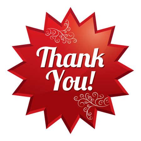 gratitudine: Grazie tag. Vettore rosso rotondo stella sticker floreale. Icona per lo shopping. Isolati su bianco.