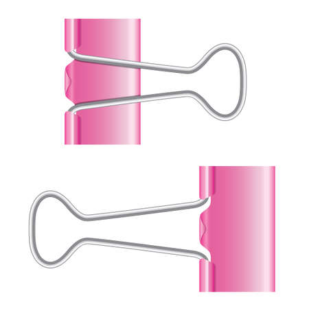 Binder clips. Pink paper clip. Vector illustration on white background. Isolated metal icon. Vector