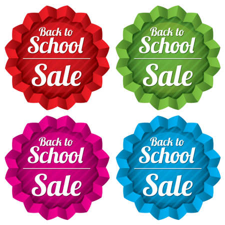Back to school sale tags set. Special offer stickers with texture. Vector