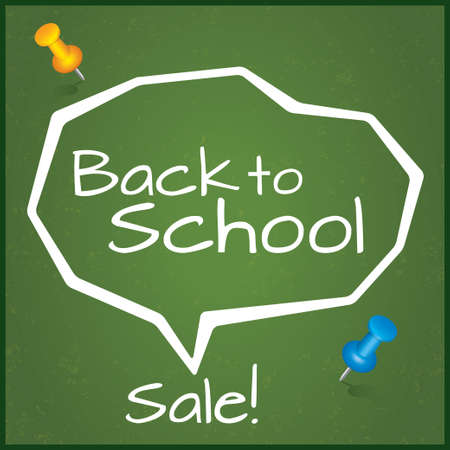Back to school sale, vector illustration with pushpins. Vector