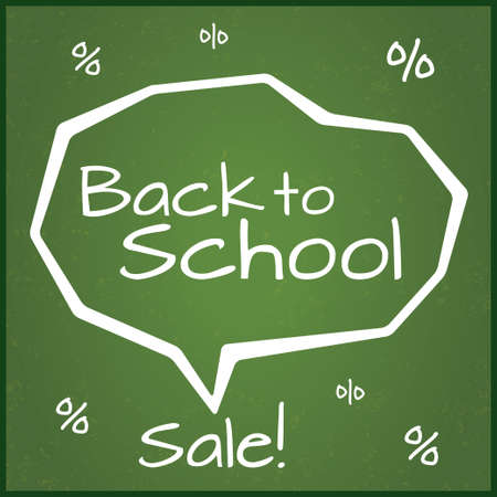 Back to school sale. Written on blackboard with chalk. Speech Bubble. Grunge background with percent. Vector