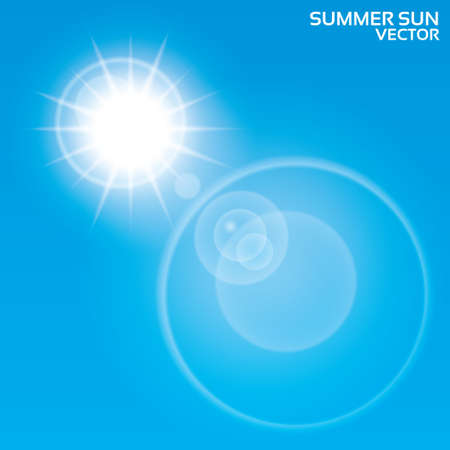 Summer sun lens flare background. Vector illustration. Blue sky.  Vector