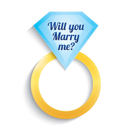 Engagement ring with diamond. Will you marry me ring. Wedding. Gold ring.   Isolated on white. Stock Vector - 22022599