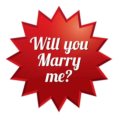 marry me: Wedding tag. Will you marry me sticker. Vector engagement illustration.  Illustration