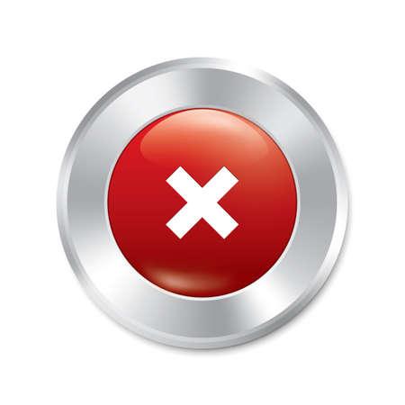 No button. Cancel red round sticker. Realistic metallic delete icon with gradient. Isolated. photo