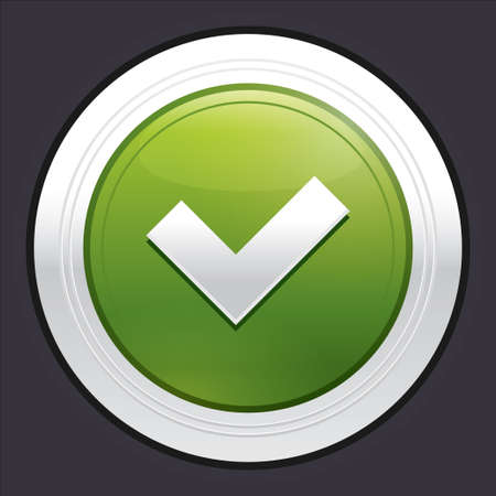 Yes button. Ok icon. Green round sticker. Metallic icon with gradient. photo