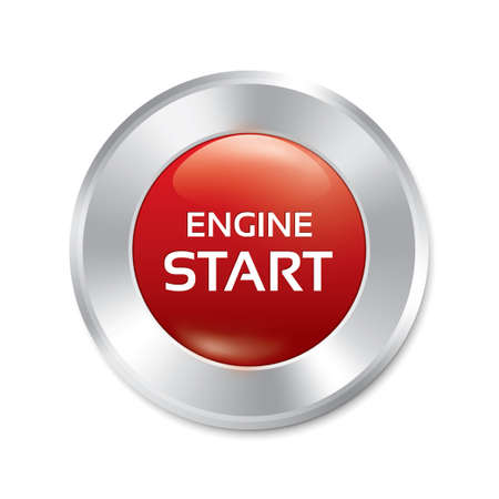 Start Engine button. Red round sticker. Realistic metallic icon with gradient. Isolated. photo