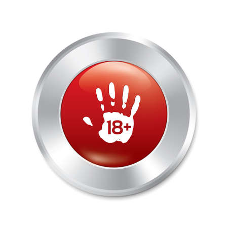 Adults only hand button. Age limit red round sticker. Realistic metallic icon with gradient. Isolated. photo