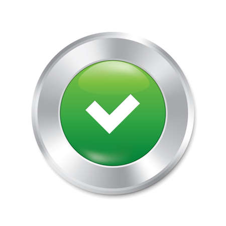 proceed: Yes button. Accept red round sticker. Realistic metallic correct icon with gradient. Isolated.
