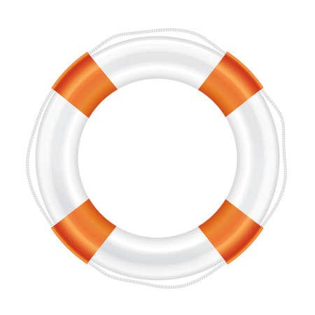 salvation: White lifebuoy with orange stripes and rope (life salvation). Isolated on white background. Illustration. Stock Photo