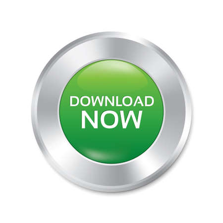 Download now button. Green round sticker. Metallic icon with gradient. Isolated on white. photo