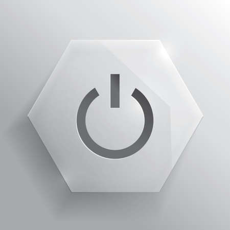 Glass button. Power button. Iillustration. Realistic icon. illustration