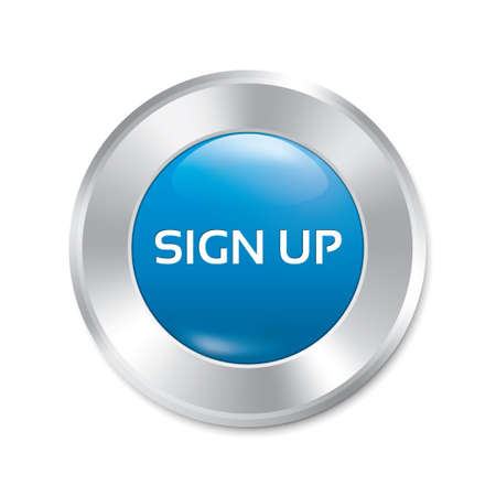 Sign up glossy blue button. Blue round sticker. Metallic icon. Isolated on white. photo