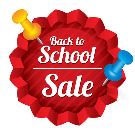 Back to school sale. Sticker with pushpins. Illustration. Tag. Isolated on white. illustration