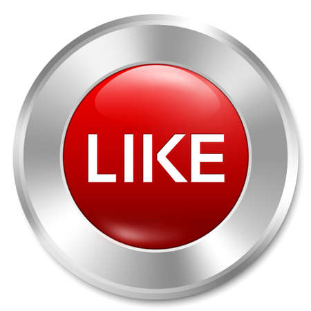 Like button. Rate icon. Red round sticker. Metallic icon with gradient. Isolated. Stock Photo - 22062335