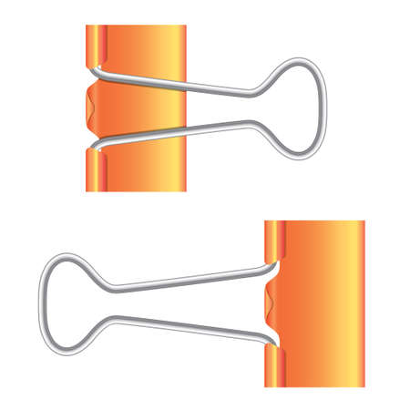 Binder clips. Orange paper clip. Illustration on white background. Isolated metal icon. illustration