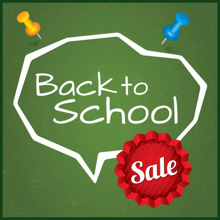 Back to school sale, illustration. Written on blackboard with chalk. Speech Bubble with sticker. Grunge background. illustration