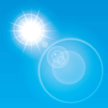 Summer sun lens flare background. Illustration. Blue sky. illustration