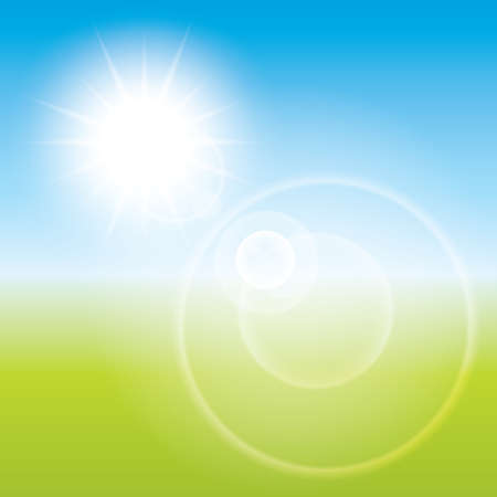 Summer sun lens flare background. Landscape blur illustration. illustration