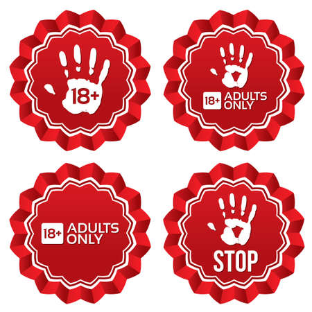 Adults only content labels, stars. Vector age limit red round stickers. Realistic icons set. Isolated.
