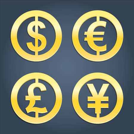 Dollar, Euro, Pound and Yen gold signs vector set. Collection of currency icons. Signs for banking business. Realistic icons Vector