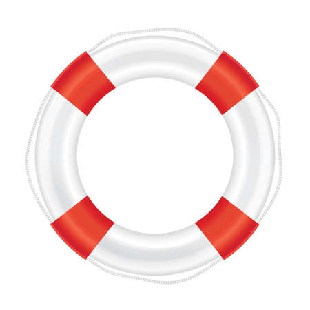 Lifebuoy with red stripes and rope (life salvation). Isolated on white background. Vector illustration.