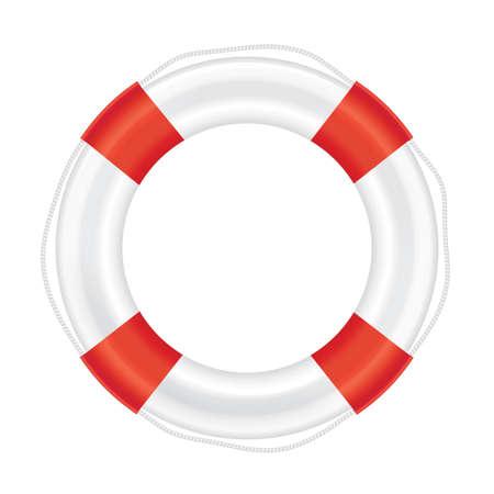 Reddingsboei met rode strepen en touw (leven verlossing). Geïsoleerd op een witte achtergrond. Vector illustratie.