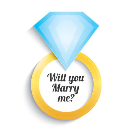 gold ring: Wedding gold ring with diamond. Engagement. Will you marry me ring. Vector illustration. Isolated on white.