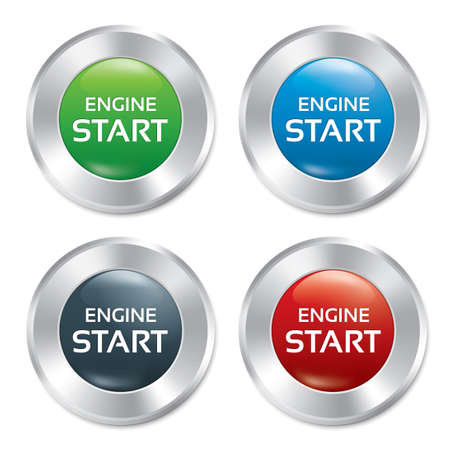 Start Engine buttons set. Vector round stickers. Realistic metallic icons with gradient. Isolated. Vector