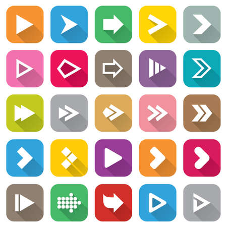 Arrow sign icon set. Flat icons for Web and Mobile Applications. 25 metro style buttons. Isolated on white. Vector. Vector