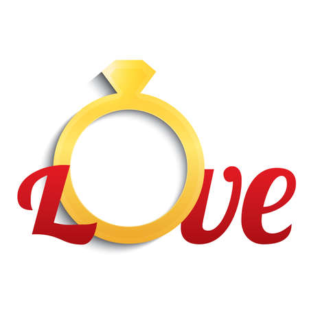 gold ring: Wedding ring with diamond. Love with gold ring. Vector illustration. Eps10. Isolated on white. Illustration
