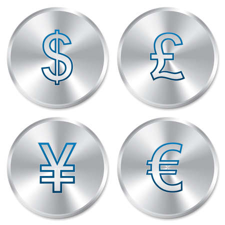 Metallic money buttons template set. Vector round currency stickers. Realistic icons. Isolated. Eps10. Dollar, euro, pound, yen signs. Vector