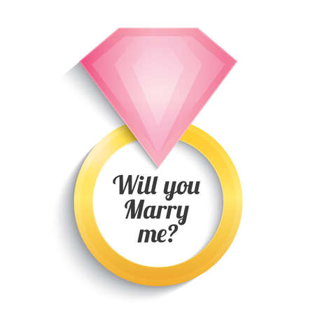 will: Wedding gold ring with diamond. Engagement. Will you marry me ring. Vector illustration. Isolated on white.