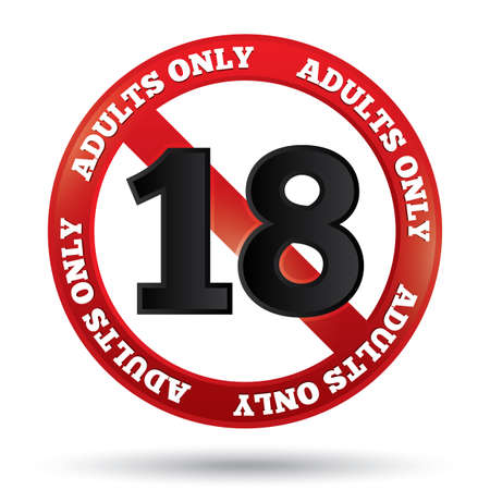 Adults only content sign. Vector sticker. Age limit icon. Prohibition sign. Under eighteen sign isolated on white. Eps 10. Vector