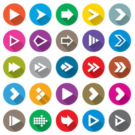 Freccia segno set di icone. Forma di cerchio pulsanti di internet semplici su bianco. Icone piane per applicazioni web e mobile. 25 tasti in stile Metro.