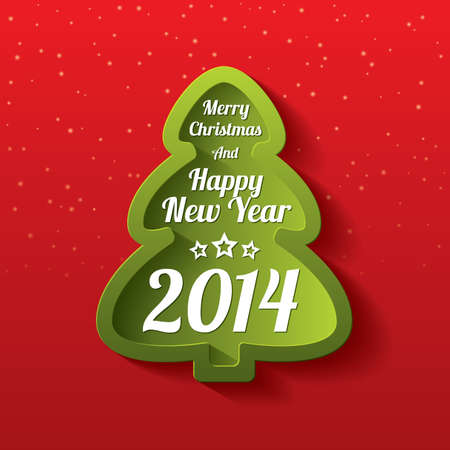 Merry Christmas tree greeting card. Merry Christmas and Happy New Year lettering. Applique background. Vector illustration. 2014. Stock Vector - 22959843