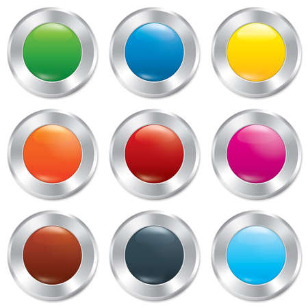 Metallic buttons template set. Vector round stickers. Realistic icons. Isolated on white background. Colorful templates for app. Eps10. Vector
