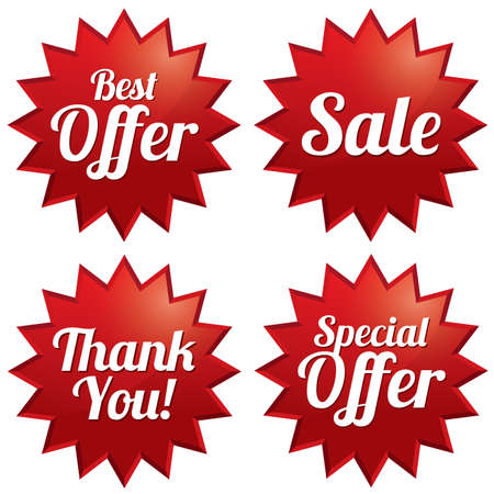 promotional offer: Colorful sale, best offer, special offer, thank you tags set. Red label stars. Icons for special offer.