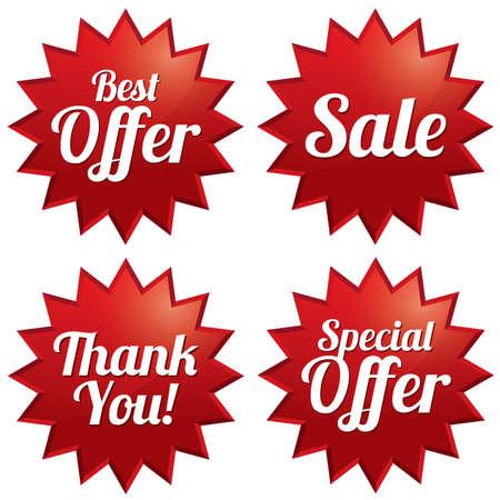 Vente coloré, meilleure offre, offre spéciale, merci balises ensemble. Étoiles étiquette rouge. Icônes pour l'offre spéciale.