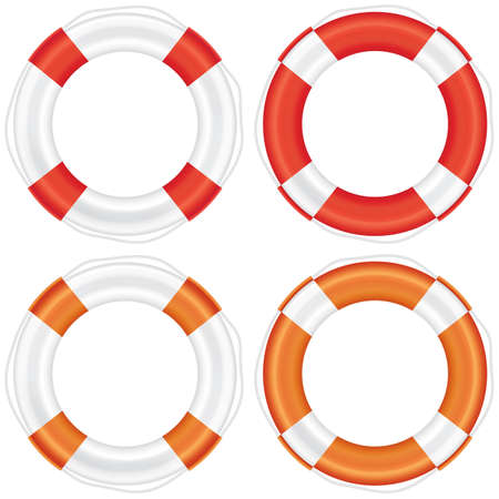 Colorful lifebuoy set with stripes and rope (life salvation). Isolated on white background. Vector illustration.