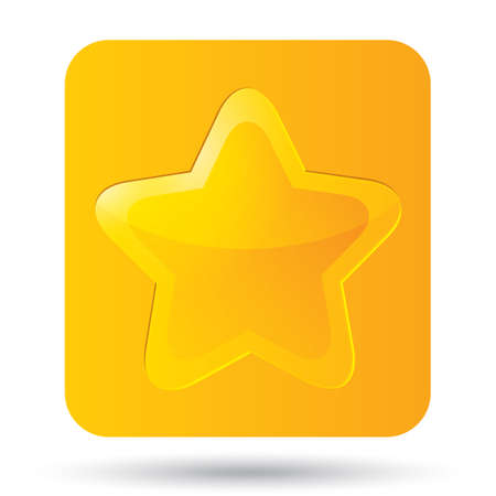 Golden star icon on white background. Five-pointed shiny star for rating. Rounded corners. Eps 10. Vector