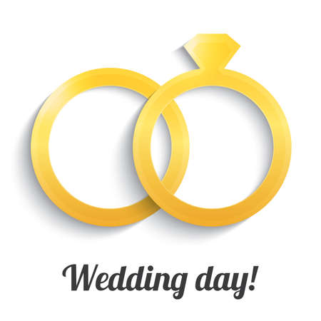 wedding day: Wedding gold rings with diamond. Wedding day icon. Vector illustration. Isolated on white. Illustration