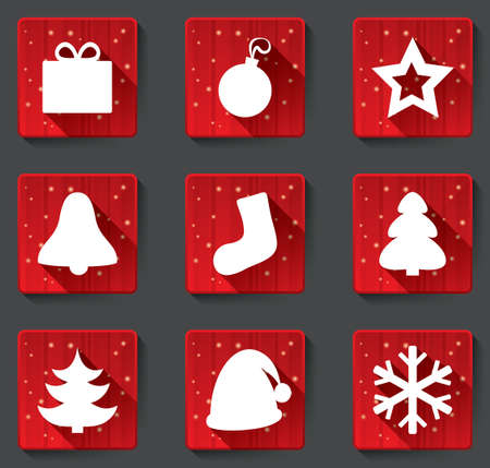 Merry Christmas flat icons with shadows. Christmas paper icons applique. Vector illustration. Vector