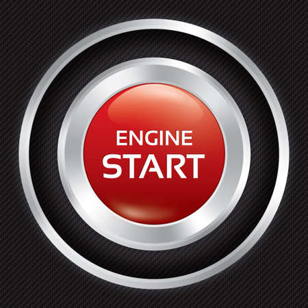 Start Engine button on Carbon fiber background. Vector realistic metallic icon with gradient. Seamless texture. Vector