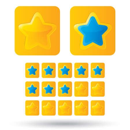 estrellas cinco puntas: Estrellas de oro de calificaci�n. Icono de estrella dorada sobre fondo blanco. Cinco-acentuada de la estrella brillante para la calificaci�n. Esquinas redondeadas. Vectores