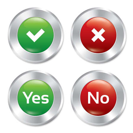 Metallic yes, no buttons template set. Realistic colorful delete, check icons. Vector round stickers. Isolated. Eps10. Vector