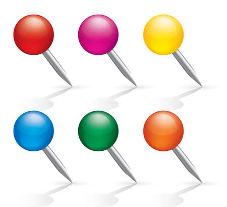 Pushpin icons. Pins set. Isolated on white background. Illustration. illustration