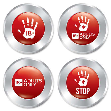 Adults only button set. Age limit red round stickers. Realistic metallic icons with gradient. Isolated.