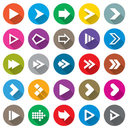 web icons: Arrow sign icon set. Simple circle shape internet buttons on white. Flat icons for Web and Mobile Applications. 25 metro style buttons.
