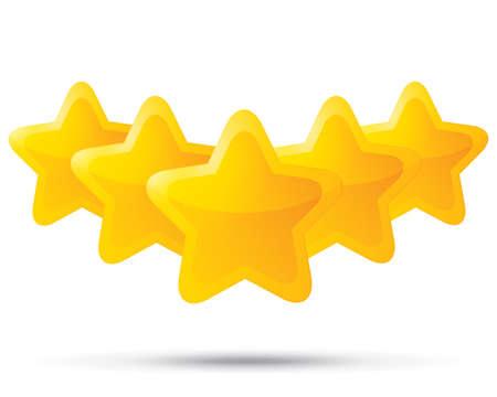 estrellas cinco puntas: Cinco estrellas de oro. Iconos de estrella sobre fondo blanco. Cinco-acentuada de la estrella brillante para la calificaci�n. Esquinas redondeadas. Foto de archivo
